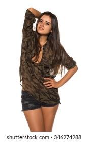 Pretty Romanian brunette in a camouflage blouse