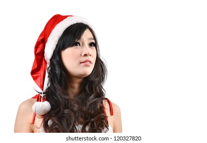 pretty Santa woman Isolated on white background