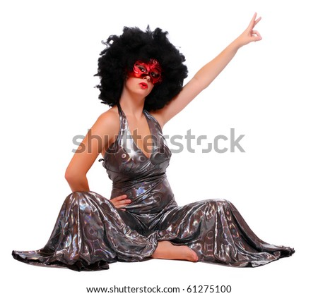 bfc80bb901cc Pretty showgirl with red mask and afro hair-style dressed in luxury retro  costume.