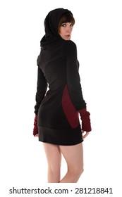 Pretty slender brunette in a hooded dress