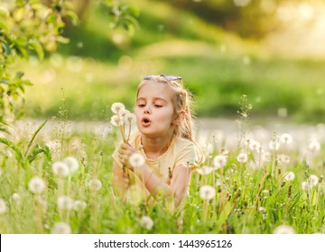 Pretty small girl likes to play with fluffy dandelions on summer meadow