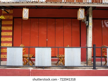 Pretty small shop decorated with iron plate,old corrugated zinc sheet and painted beautiful color
