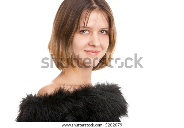 Pretty smiling brunette woman on white background