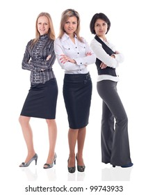 pretty smiling business women standing together
