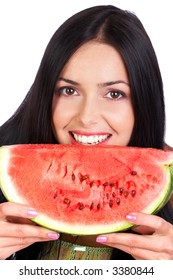 Pretty smiling woman with a piece of water-melon