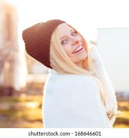 Pretty smiling woman portrait outdoor