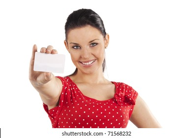 pretty smiling young woman in red dress with bussiness card against white background