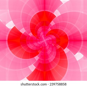 Pretty smooth detailed crystal-like spiral made out of pastel colored interconnected arches of different sizes in red and pink colors