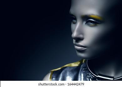 pretty space woman in dark