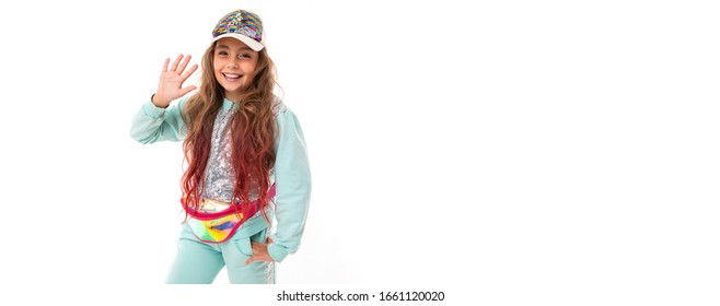 Pretty sport teenager smiles , panorama isolated on white background