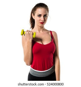 Pretty sport woman making weightlifting