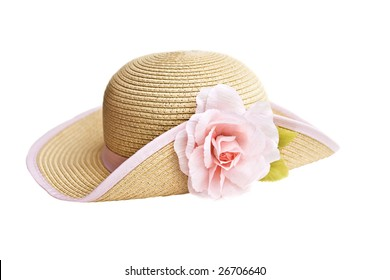 Pretty straw hat with flower isolated on a white background.