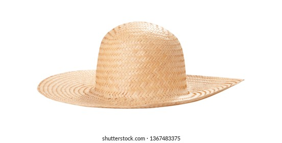 d5653875405146 Pretty straw hat with ribbon and bow on white background. Beach hat top  view isolated
