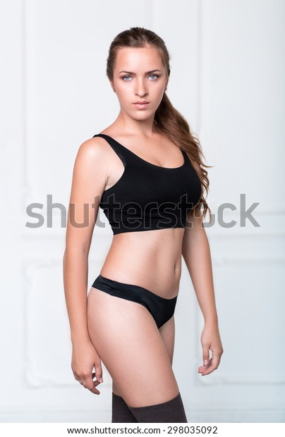 Pretty Strong Girl Black Top Panties Stock Photo Edit Now 298035092