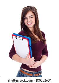 Pretty student girl with notebooks over white background