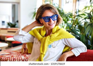 ef1ddd9b697 Beautiful Woman Asking Waiter Restaurant Put Stock Photo (Edit Now ...