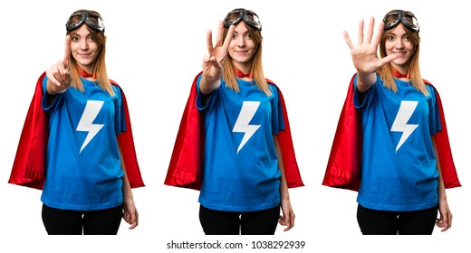 Pretty superhero girl counting one, three and five