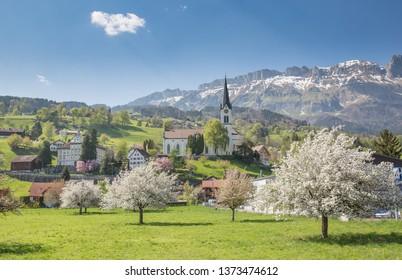 The pretty Swiss Alpine village of Buchs