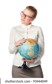 pretty teacher with globe dreaming about something