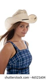 Pretty teen girl wearing an old straw had