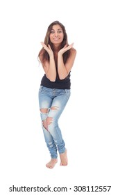 pretty teen girl wearing ripped jeans