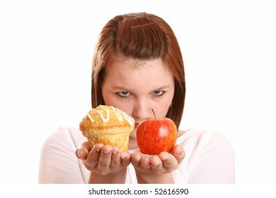 Pretty teenage girl thinking about dietary choices