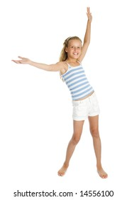 Pretty teenager girl with hands up isolated