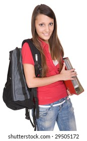 pretty teenager ready to school . over white background