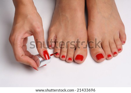 pretty toes red nail polish stock photo edit now 21433696
