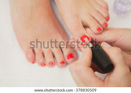 pretty toes red nail polish stock photo edit now 378830509