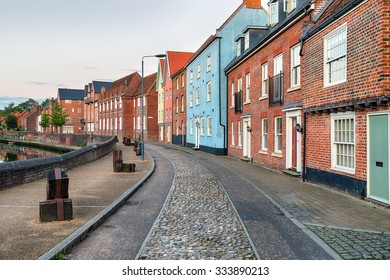 Pretty town houses in the center of Norwich city in Norfolk