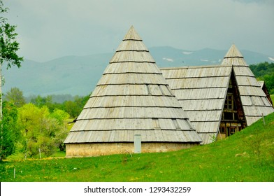 Pretty unique wood houses on the way to  Zabljak Montenegro