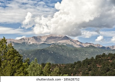 A pretty view of Pikes Peak from Garden of the Gods in Colorado Springs