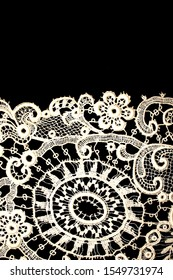 Pretty Vintage Victorian Lace on Black Background