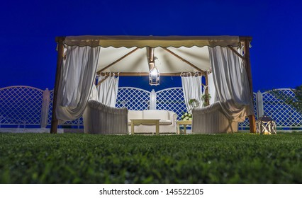 pretty wedding tent in the garden
