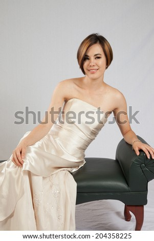 Pretty White Woman Formal Dress Leaning Stock Photo Edit Now