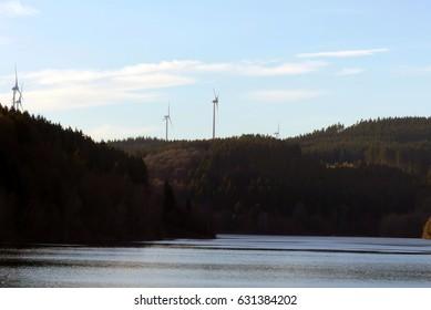 pretty wind turbines park