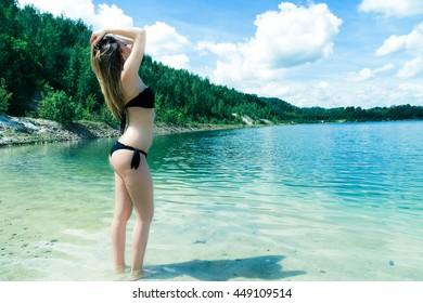 pretty woman in black bikini
