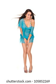 pretty woman in blue sexy dress isolated on white