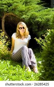 Pretty woman in botanic garden