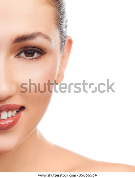 Pretty woman with brown hair and beauty smile looking to camera, isolated on white background