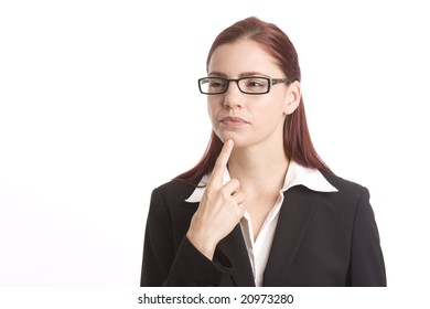 Pretty woman in business suit pondering a question