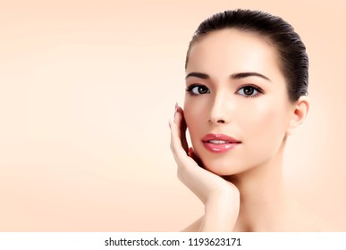 Pretty woman with clean and fresh skin. Beautiful girl portrait