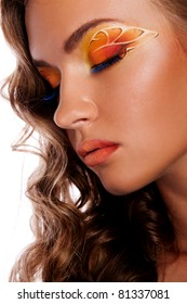 Pretty woman with creative makeup