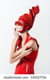 pretty woman in creative red costume