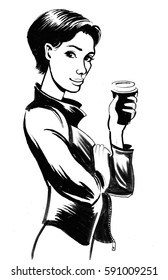 Pretty woman with a cup of coffee