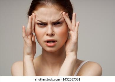 Pretty woman depressed headache health medicine migraine