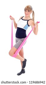 Pretty woman doing exercises with resistance band