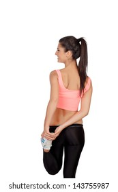 Pretty woman doing stretching into her workout isolated on white background