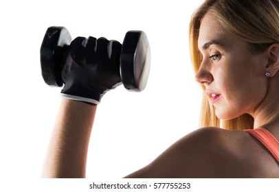 Pretty woman doing weightlifting